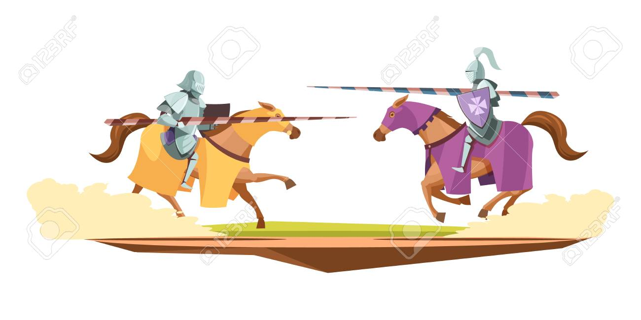 Medieval knits tournament cartoon composition vector illustration. - 88849495