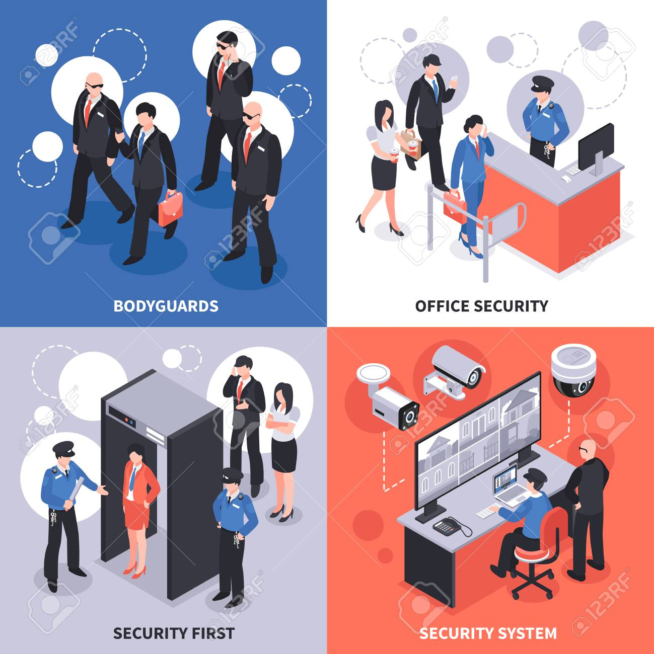Security system isometric design concept vector illustration. - 88845392