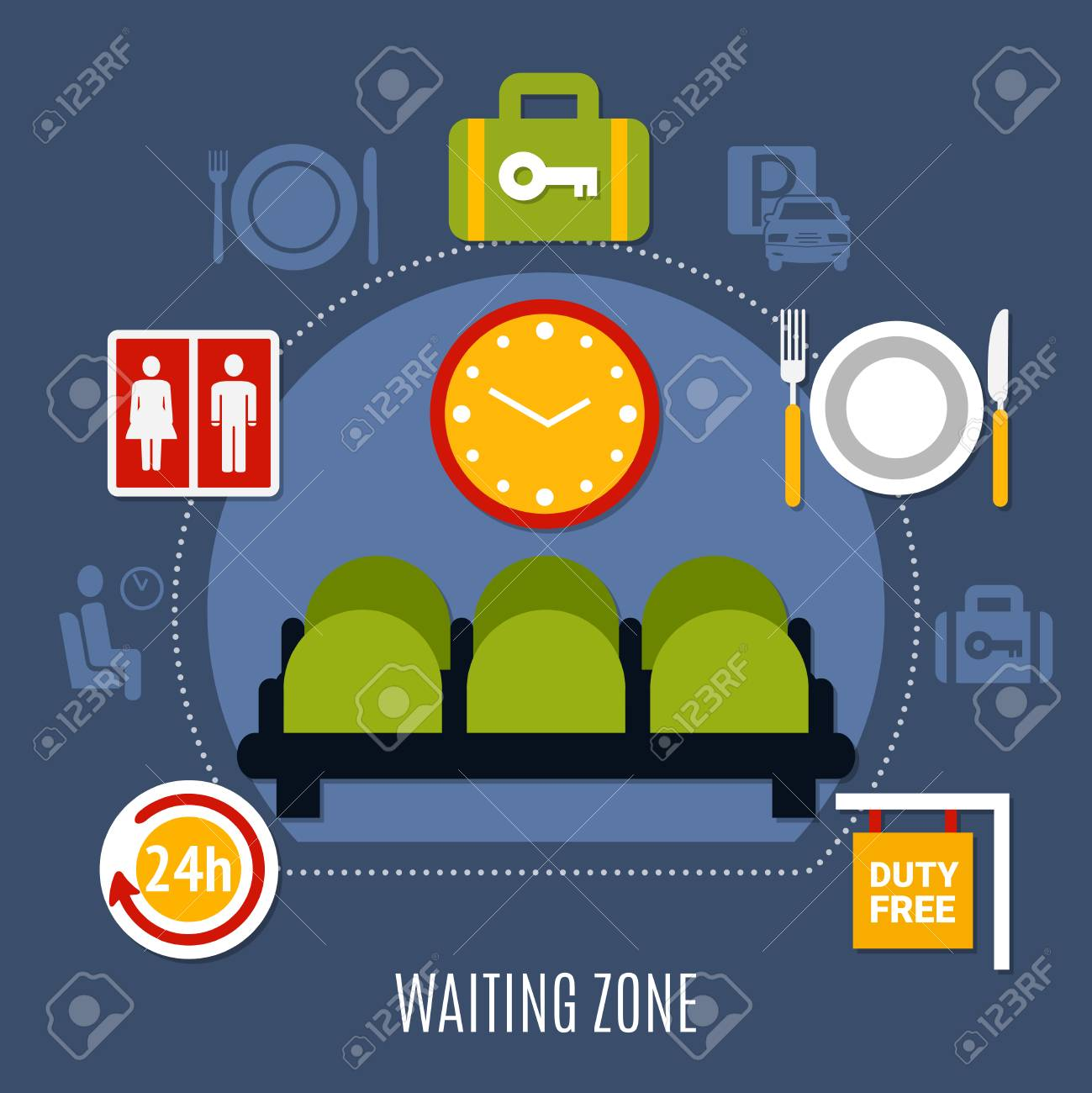 International airport waiting zone with luggage storage service international airport waiting zone with luggage storage service restroom and duty free symbols flat poster vector biocorpaavc Gallery