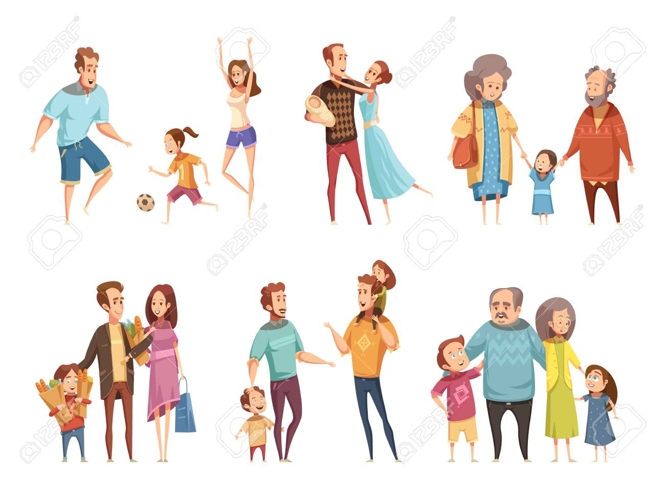 Family cartoon set with parents grandparents and children isolated vector illustration - 89112238