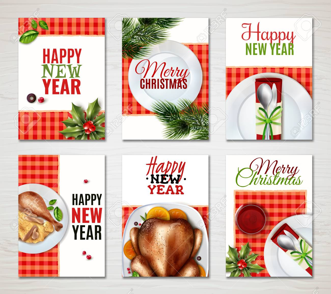 six colored vertical realistic turkey christmas banner set with
