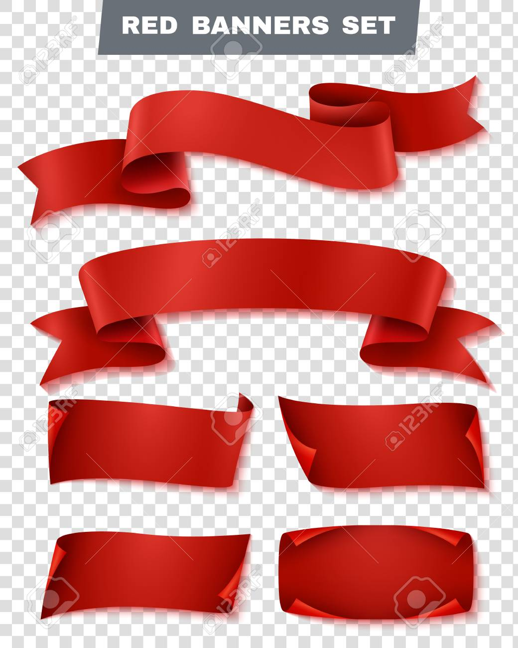 realistic red paper banner transparent icon set with different