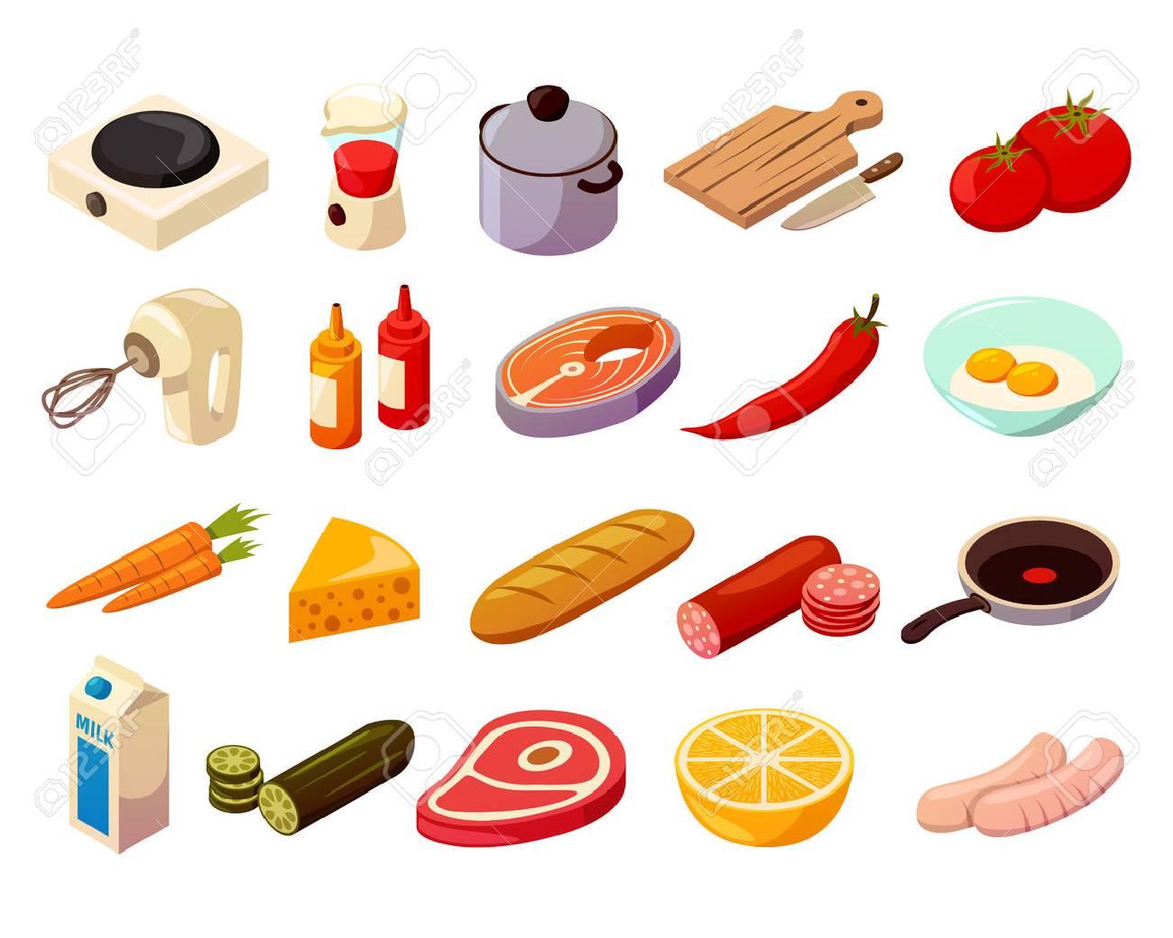 baea86652 Alimentos cocina conjunto de iconos isométricos con utensilios de cocina,  equipo culinario, carne,