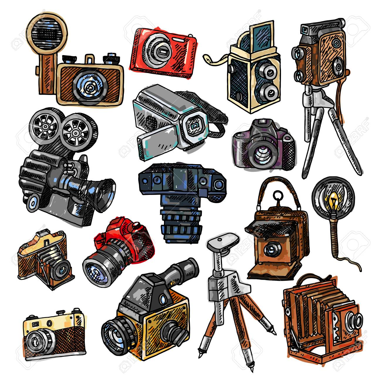 Old Mechanical Film And Automatic Modern Digital Reflex Cameras Royalty Free Cliparts Vectors And Stock Illustration Image 91000641
