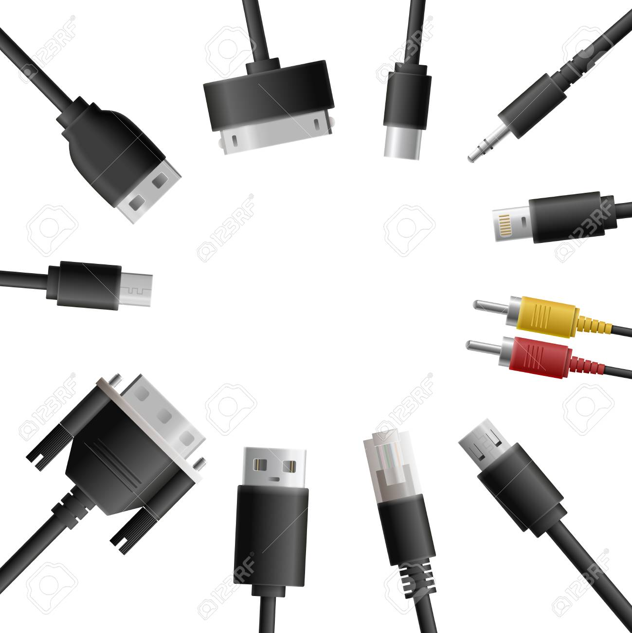Realistic Cable Connectors Background With Round Composition Usb Wiring Guide Of Computer Audio Video And Data Transfer Wire Plugs