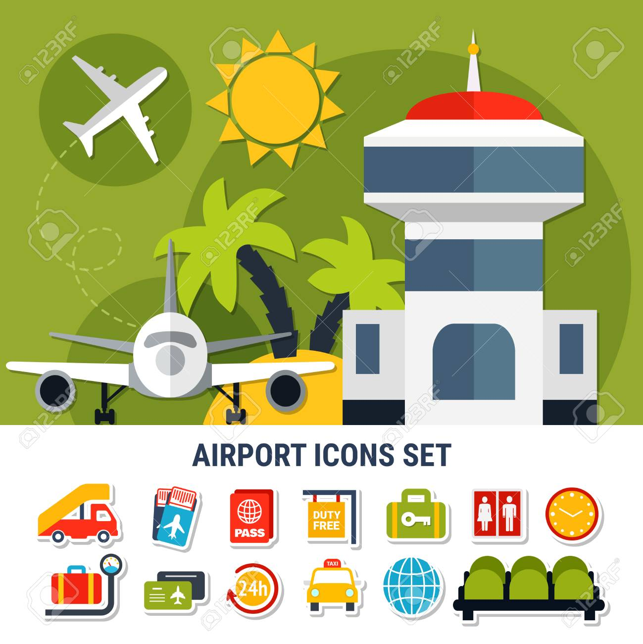 Air travel flat banner with airport traffic control tower and air travel flat banner with airport traffic control tower and passengers service symbols icons set vector biocorpaavc Gallery