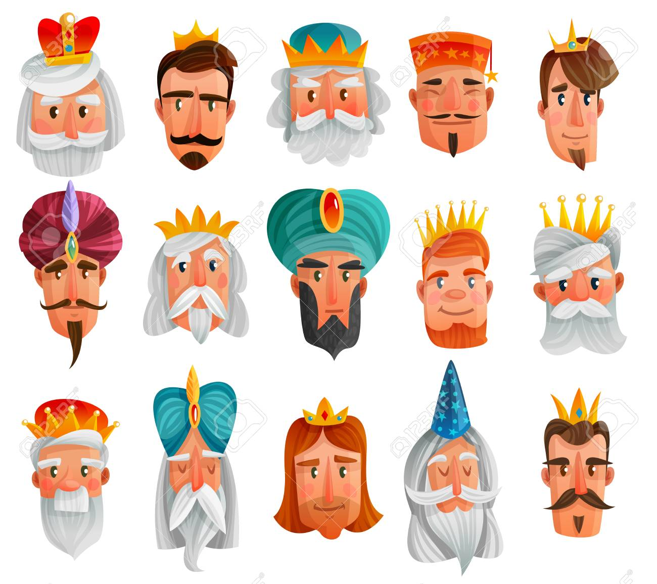 Royal Characters Cartoon Set With Faces Of European And Asian Royalty Free Cliparts Vectors And Stock Illustration Image 91000536