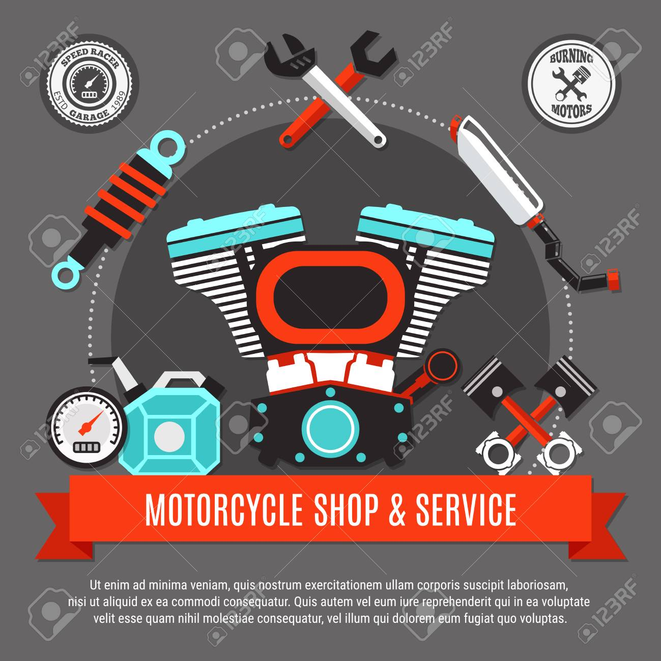 Motorcycle Shop And Service Design Concept With Engine Pistons Diagram Schedule Speedometer Exhaust Wrench Decorative Icons Flat Vector