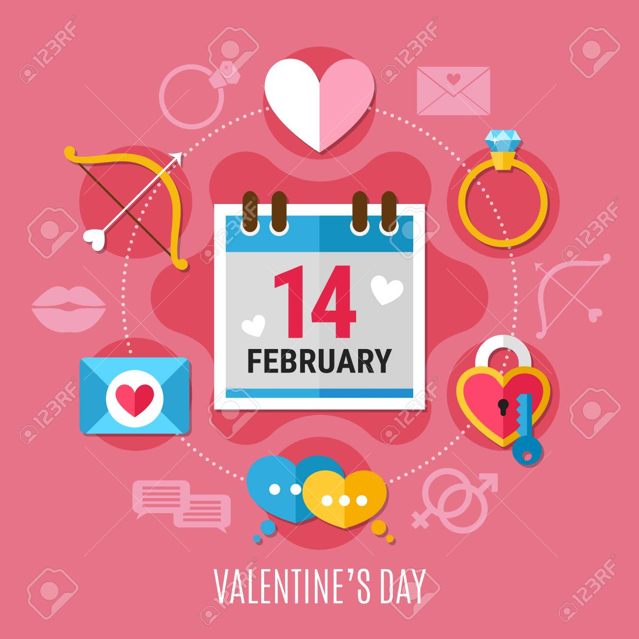 Colored And Flat Valentines Day Composition With Romantic Elements