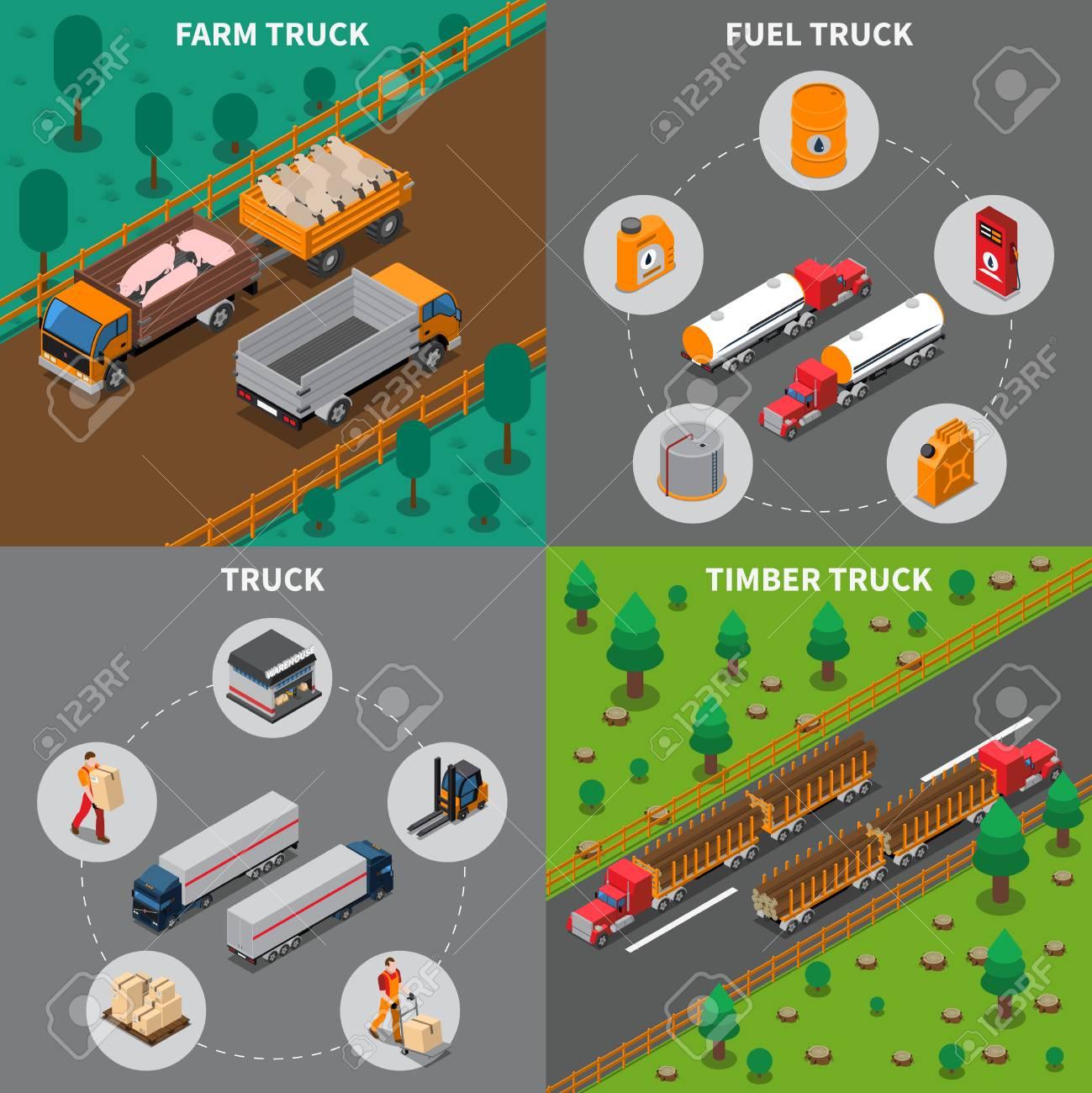 El concepto isométrico pesado de los vehículos automotores con los camiones  para la granja, la madera y el combustible, transporte del cargo aisló