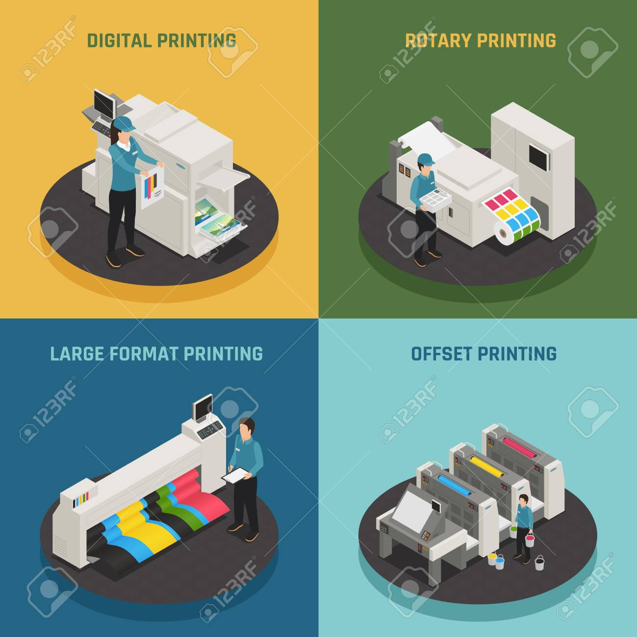 Printing house 4 isometric icons concept with digital rotary large format and offset production types vector illustration - 91606614