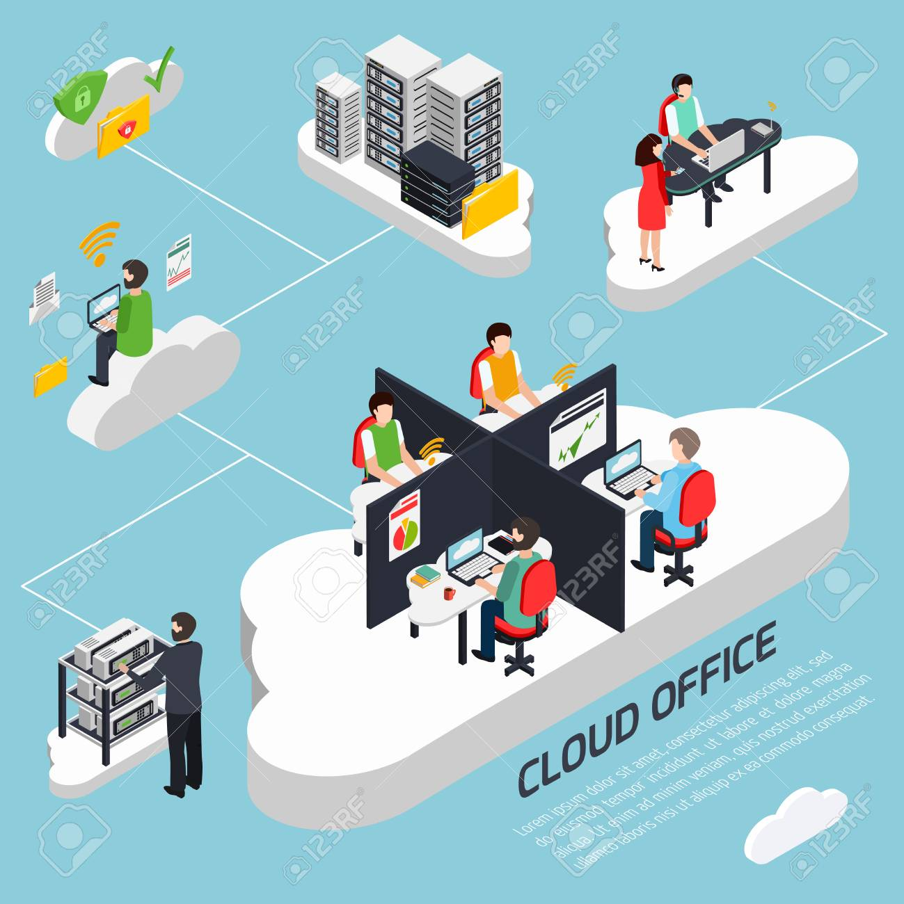 Cloud office isometric background with data protection and security symbols vector illustration - 91822021