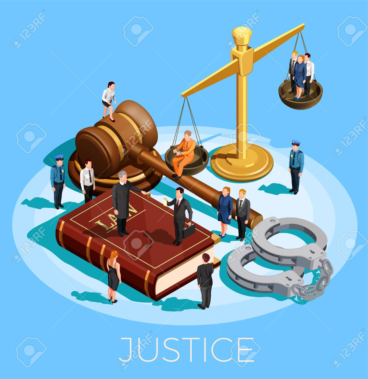 Law design isometric conceptual composition with little people on top of balance gavel legal code and wristbands vector illustration - 91856565
