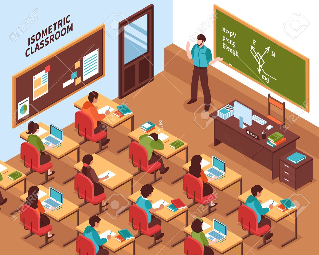 High school lesson isometric poster with teacher at chalkboard and listening students at their desks vector illustration - 91855902