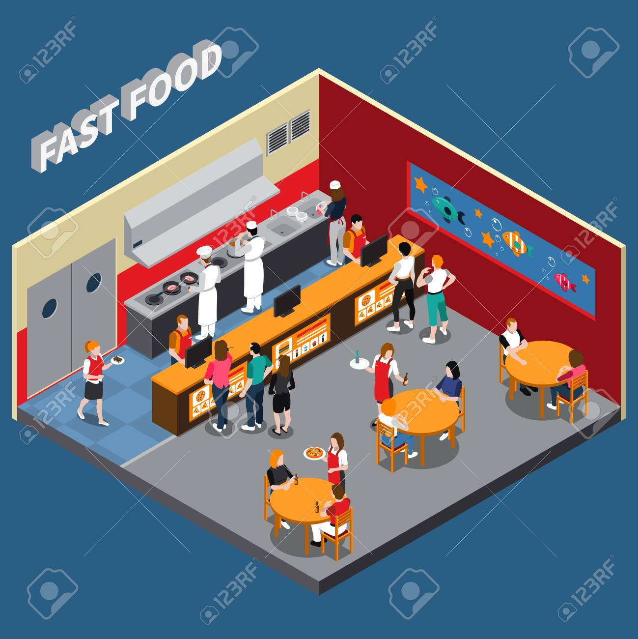 Fast food restaurant with employees of kitchen cashiers waitresses and visitors interior elements isometric vector illustration - 92020882