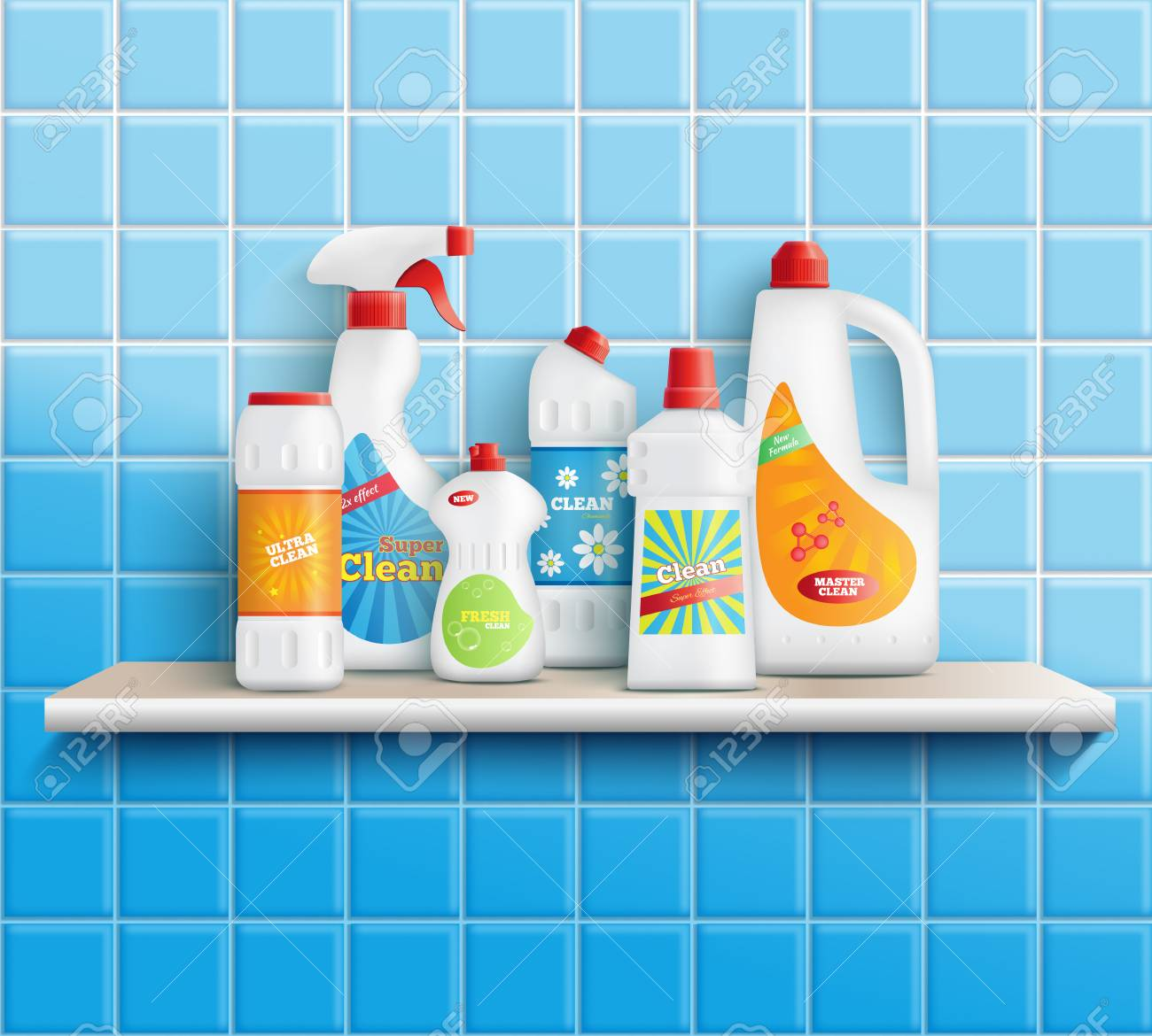Composition Of Realistic Detergent Bottles On Shelf With Bathroom - Bathroom detergent