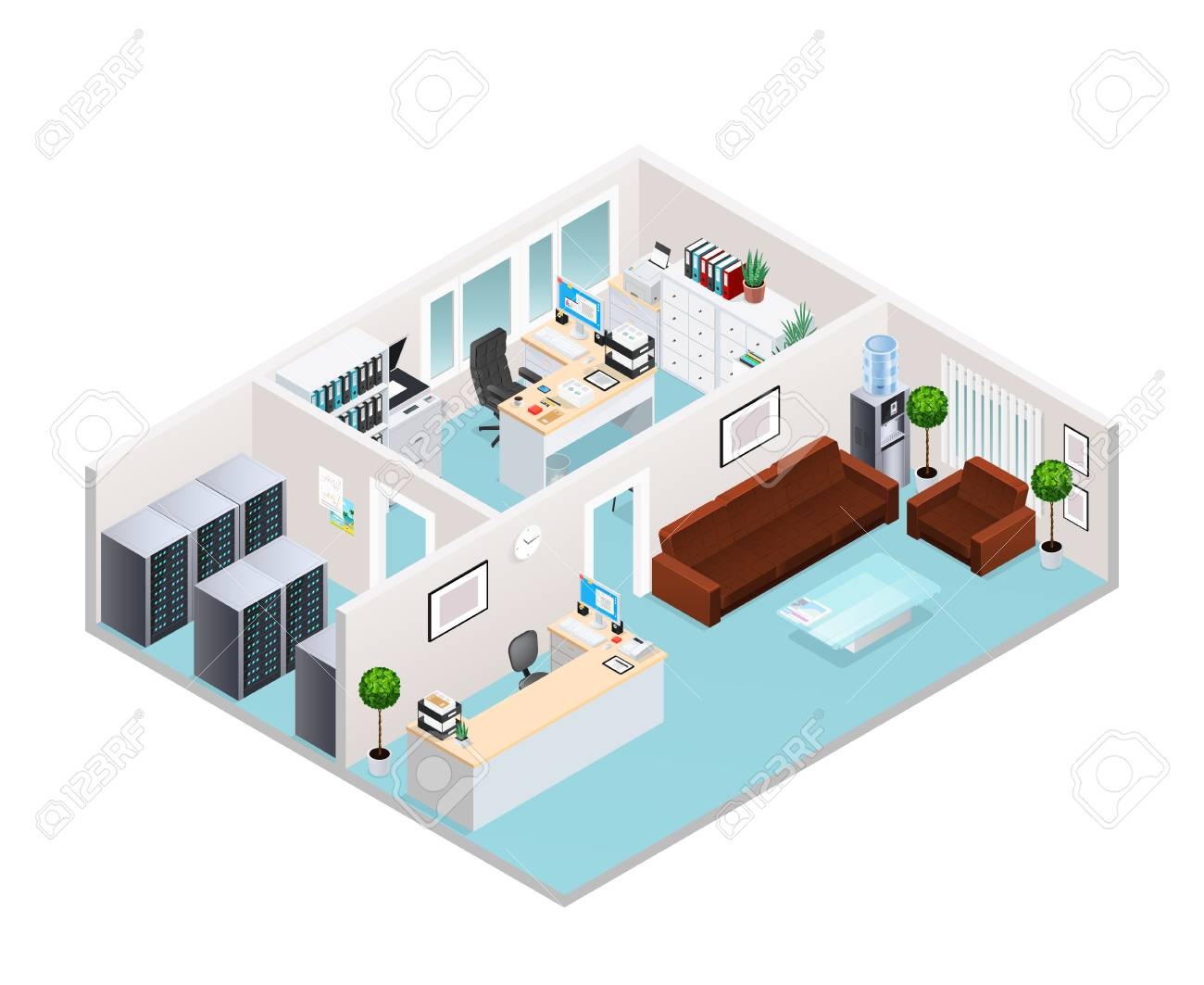 Office Interior Isometric Design Including Waiting Area With