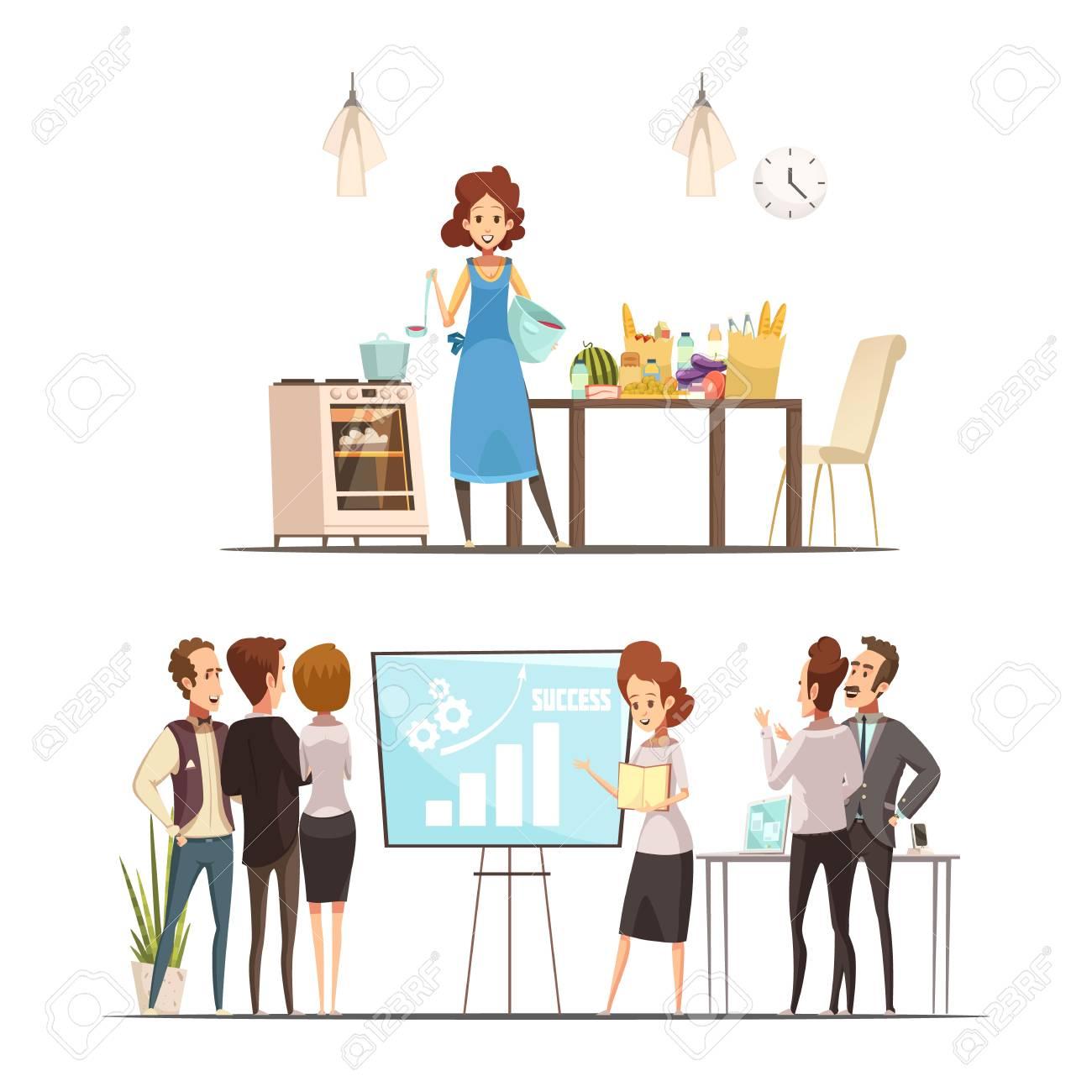Conceito De Equilibrio Familia Trabalho De Maternidade Retro Dos