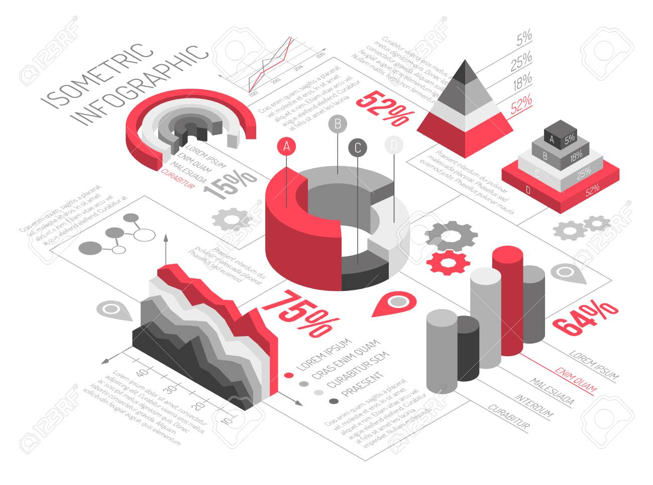 Isometric diagrams infographics black and white with solid geometric objects for graphs and diagrams with text vector illustration - 92101886