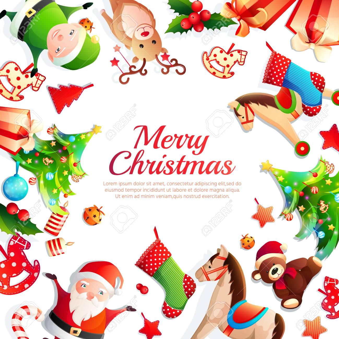 Merry Christmas Cartoon Frame With Greeting, Xmas Tree, Santa ...