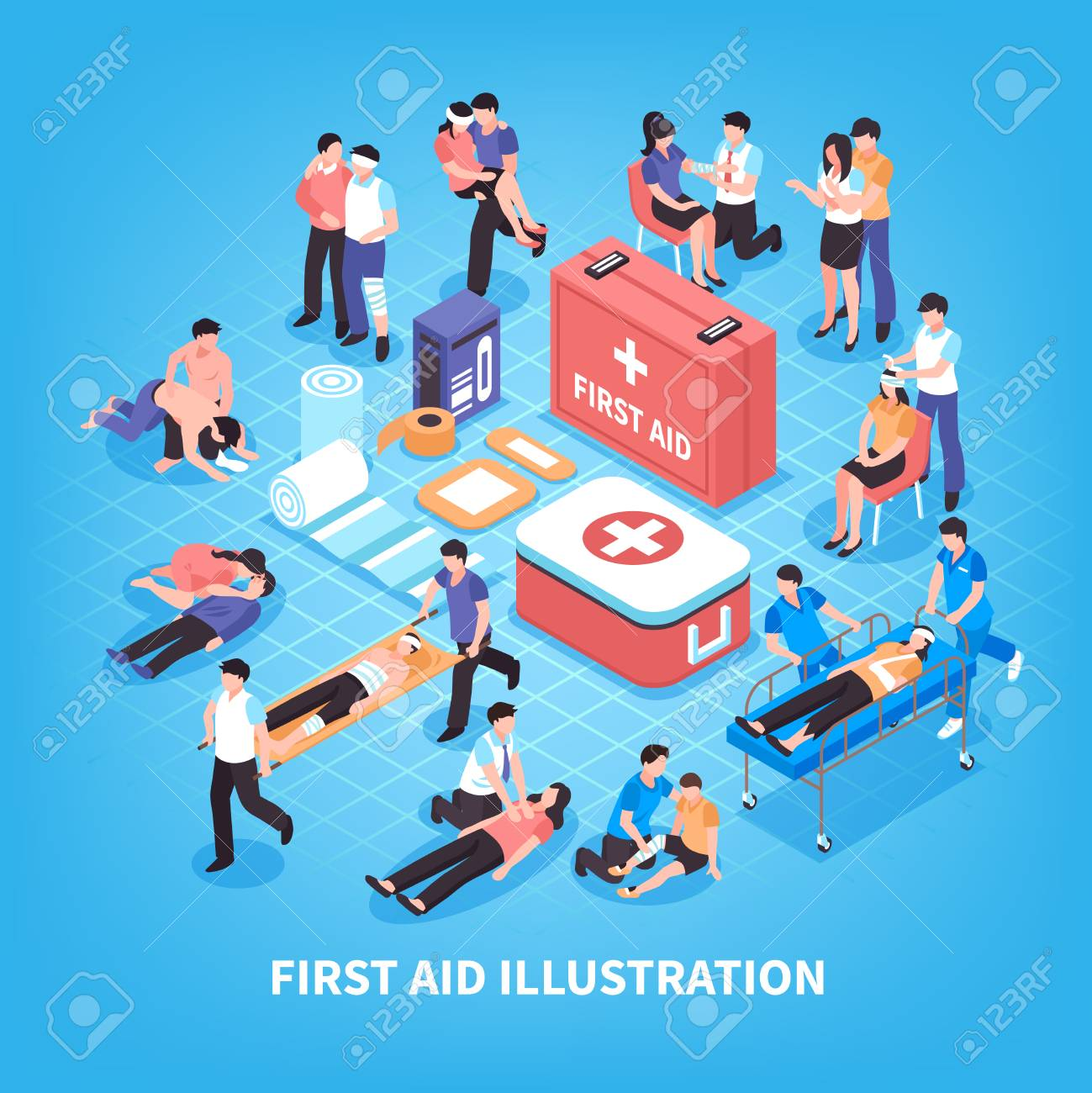 First aid isometric composition with rescue of victim persons, emergency care kit on blue background vector illustration - 92742939