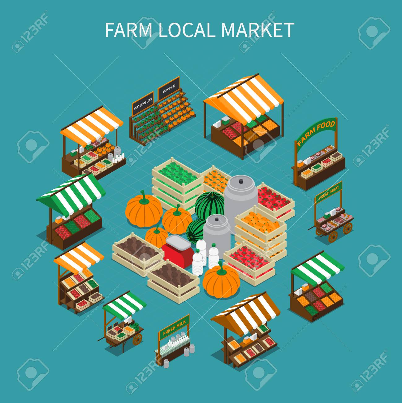 Farm local market isometric composition with images of stall tents and boxes filled with vegetables vector illustration - 92742937