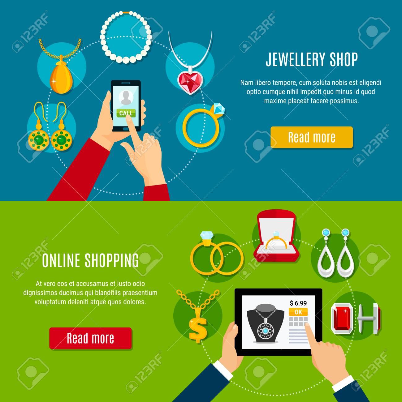 72211287b8 Banners horizontales de tienda de joyería con dispositivo móvil en mano para  comprar decoraciones en línea