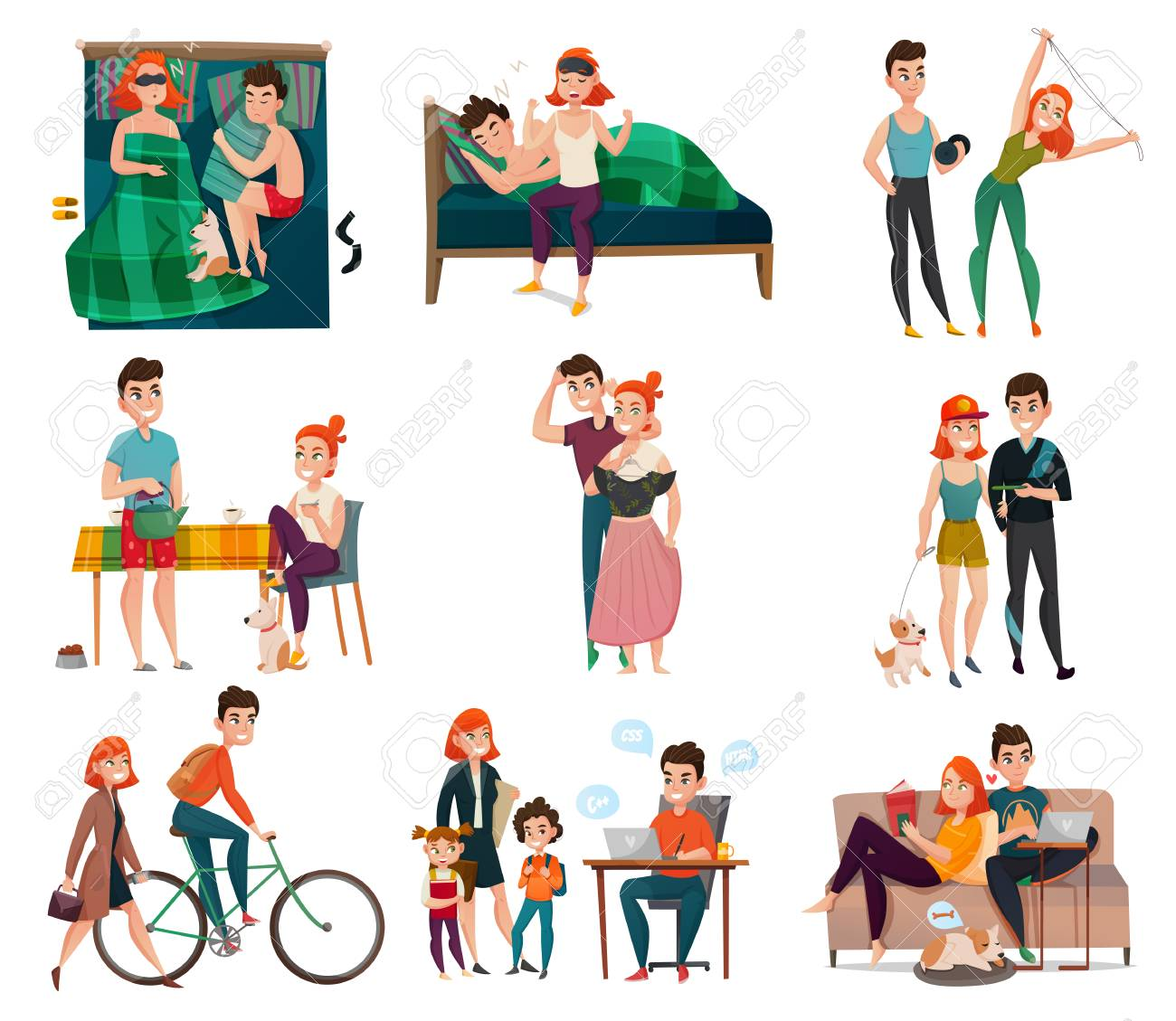 Couple in daily life activities set vector illustration - 93059678
