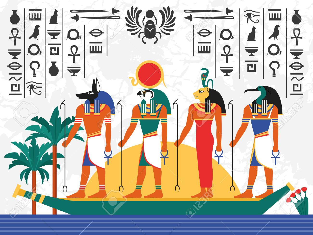 Egypt flat colorful poster with ancient egyptian gods in papyrus egypt flat colorful poster with ancient egyptian gods in papyrus boat on hieroglyph background flat vector publicscrutiny Image collections