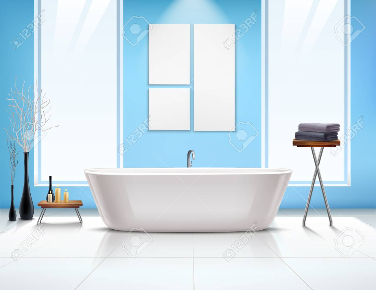 Colored Bathroom Interior Composition In Realistic Style With ...