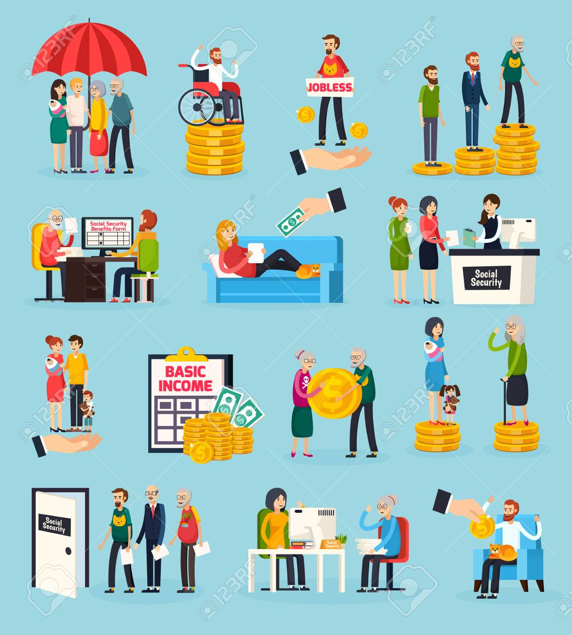 Social security orthogonal icons set with family protection, disability and unemployment benefits, documents execution isolated vector illustration - 93947555