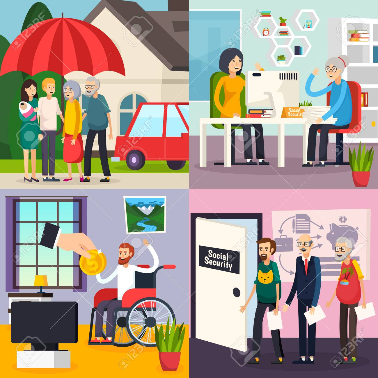 Social security orthogonal design concept with family protection, retirement welfare, disability and unemployment benefits isolated vector illustration. - 94049323