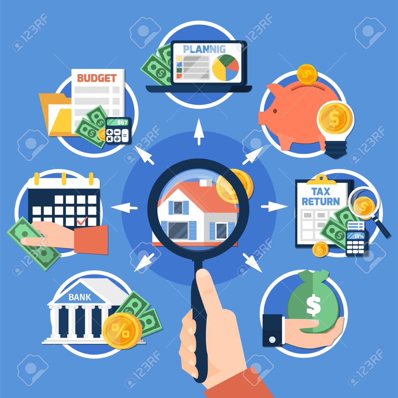 Estate tax composition on blue background with magnifier in hand, house, savings, budget planning, report. Vector illustration. - 94306256