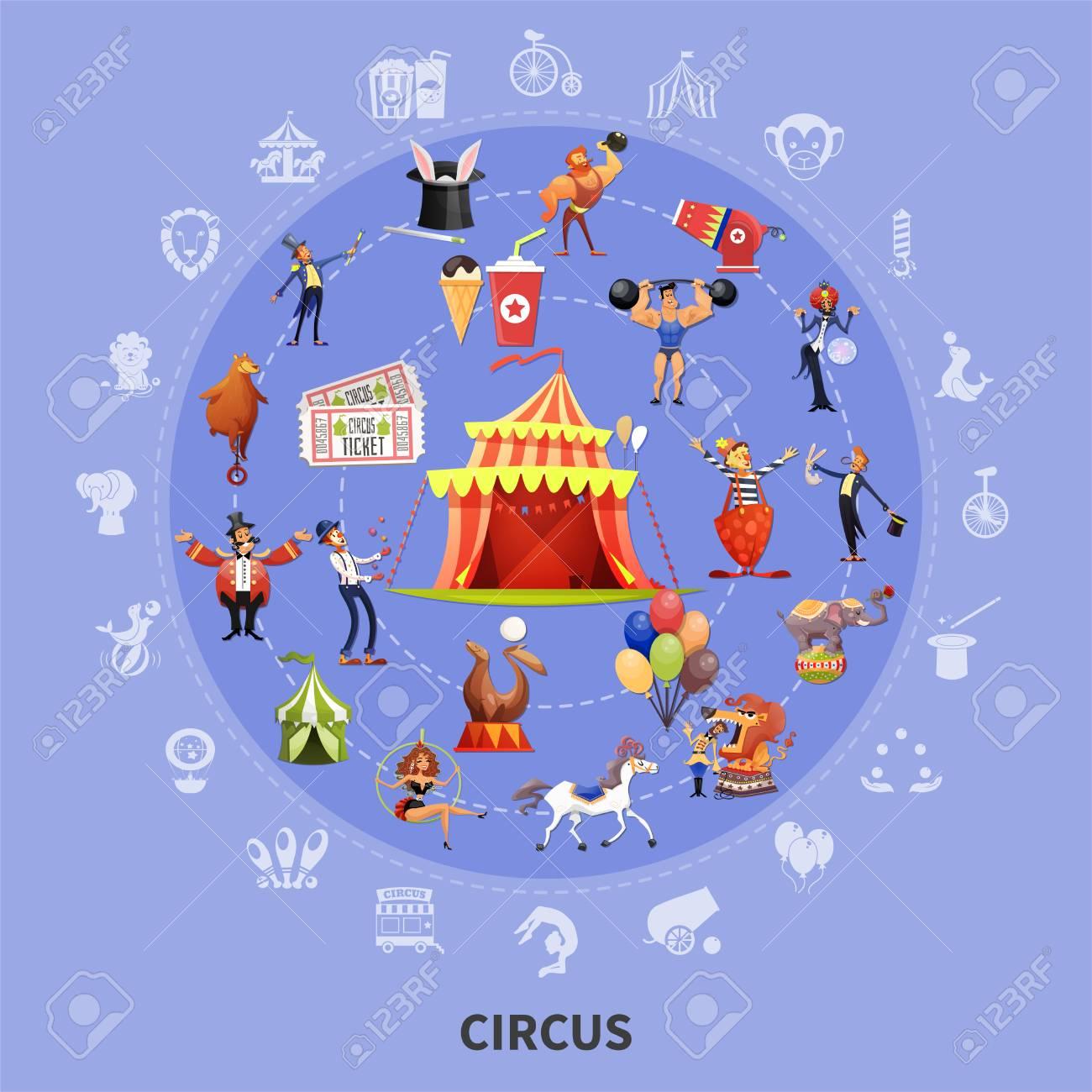 Cirque Couleur Dessin Animé Rond Composition Avec Jeu D Icônes Combiné En Illustration Vectorielle Grand Cercle