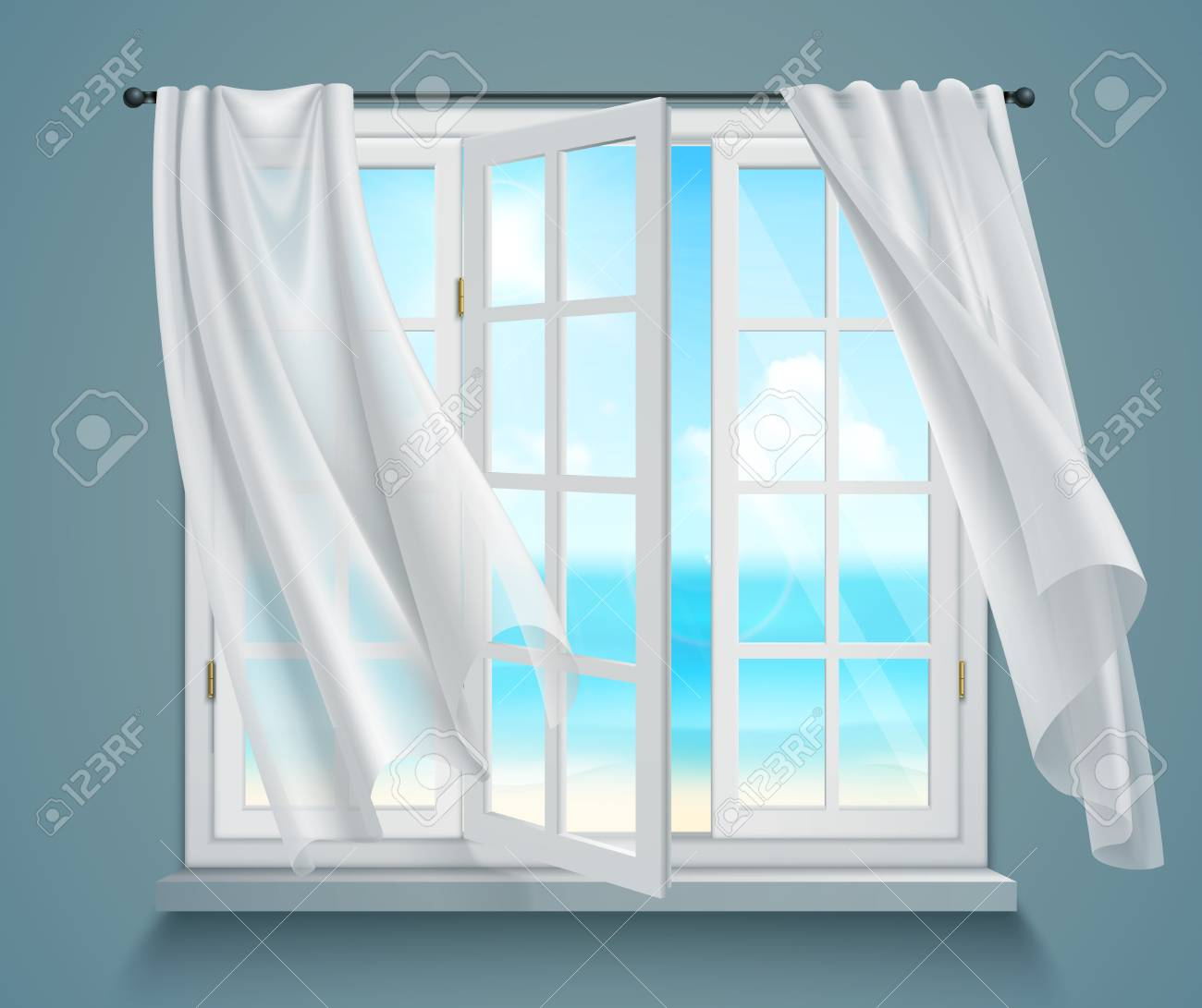 Open window with billowing white curtains and view on sea on blue grey background 3d vector illustration - 94769838