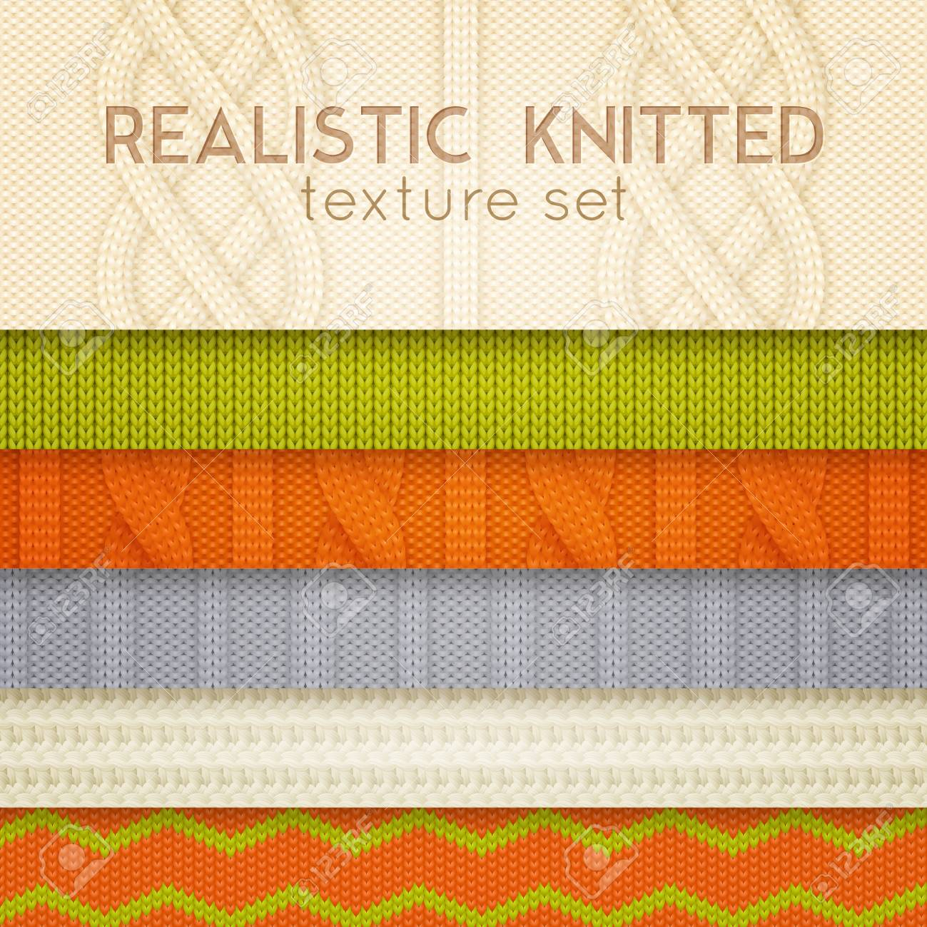 Realistic knitted patterns samples 6 horizontal layers set with scandinavian sweaters cable stitch texture vector illustration - 94794471