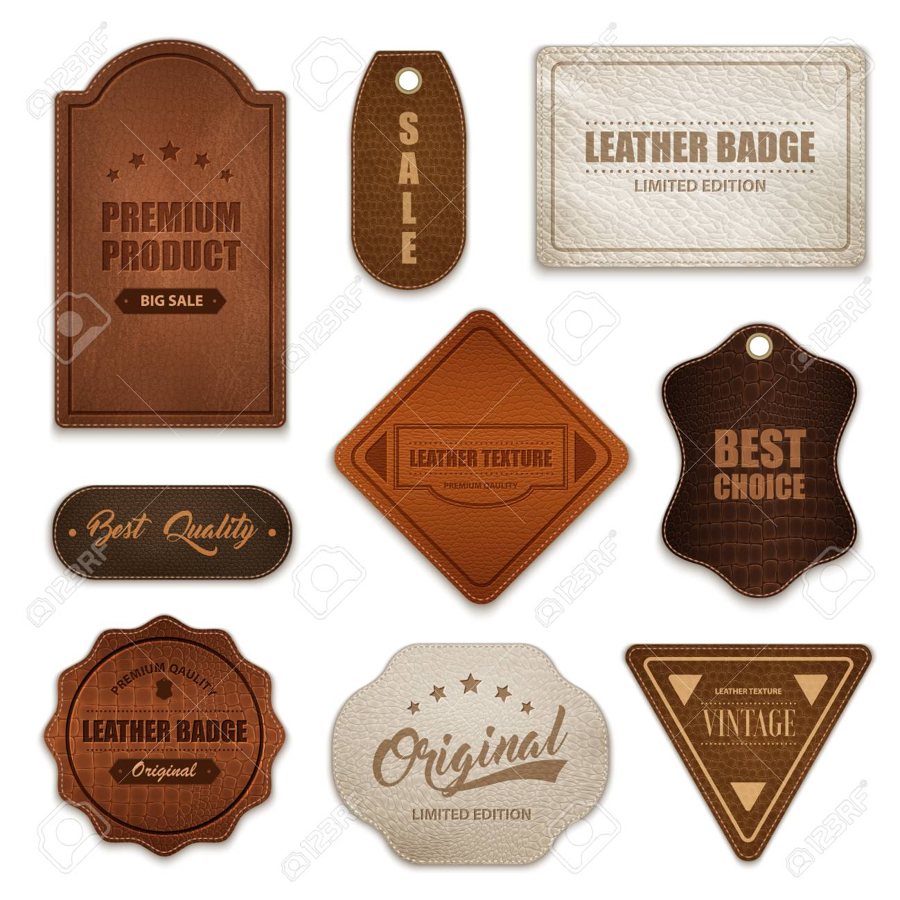 Realistic premium quality genuine leather labels badges tags collection various shapes color and texture isolated vector illustration - 94982302