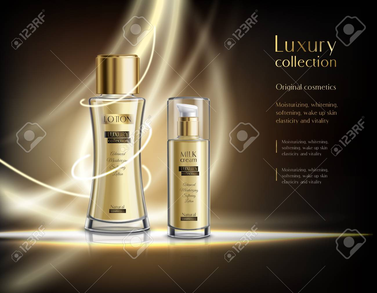 Luxury perfume cosmetics collection realistic advertisement poster with glowing lotion glass spray bottles dark background vector illustration - 94983379