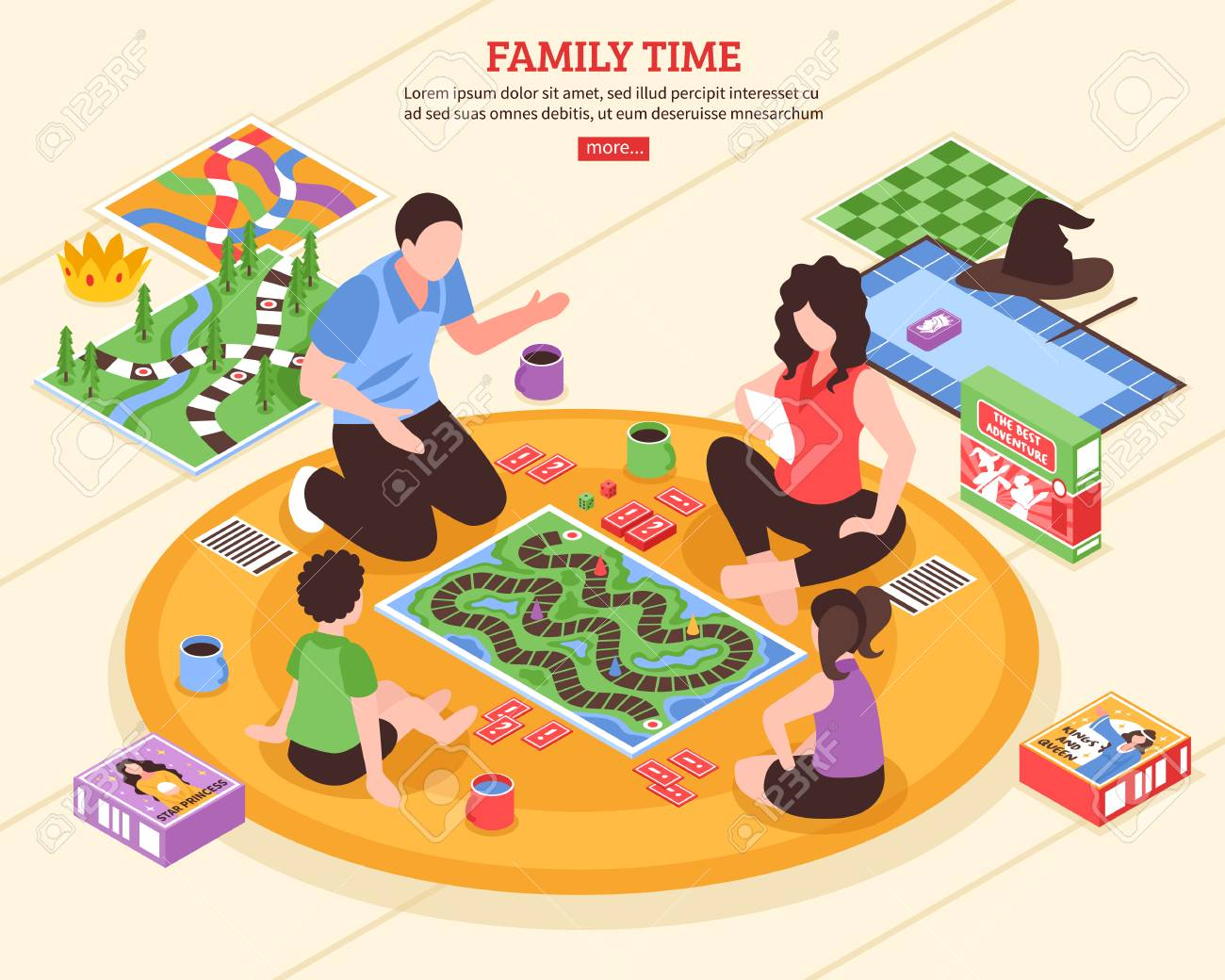 Family pastime scene with parents and kids playing board games on floor isometric vector illustration - 95258667