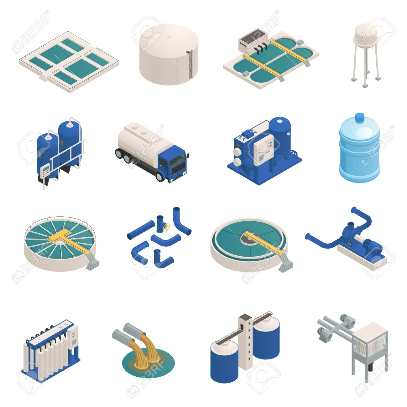 Water purification technology elements isometric icons collection with wastewater cleaning filtration and pumping units isolated vector illustration - 95259659