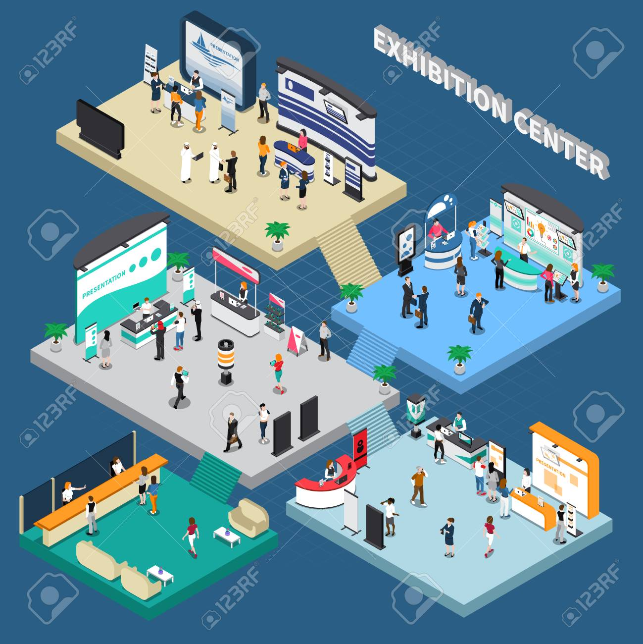 Multistory exhibition center isometric composition on blue background with exposition stands, business people, vector illustration - 95660740