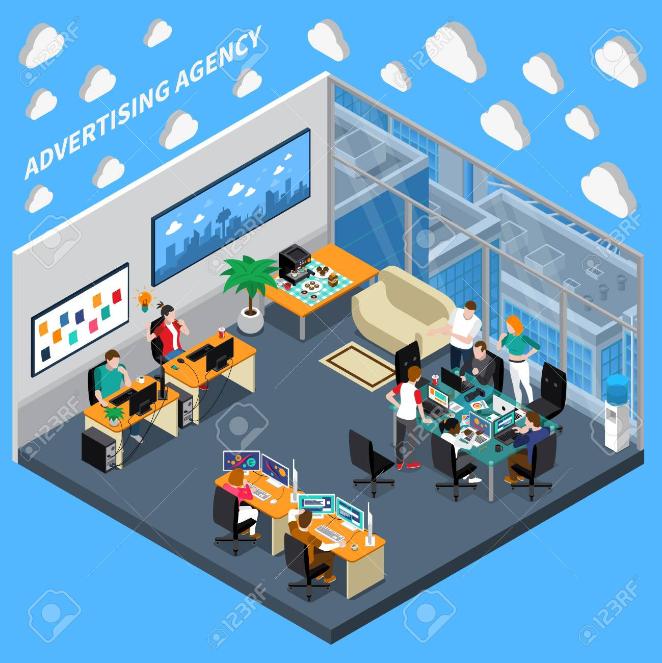 Advertising agency isometric composition on blue background with creative team, designers at office vector illustration - 95824570
