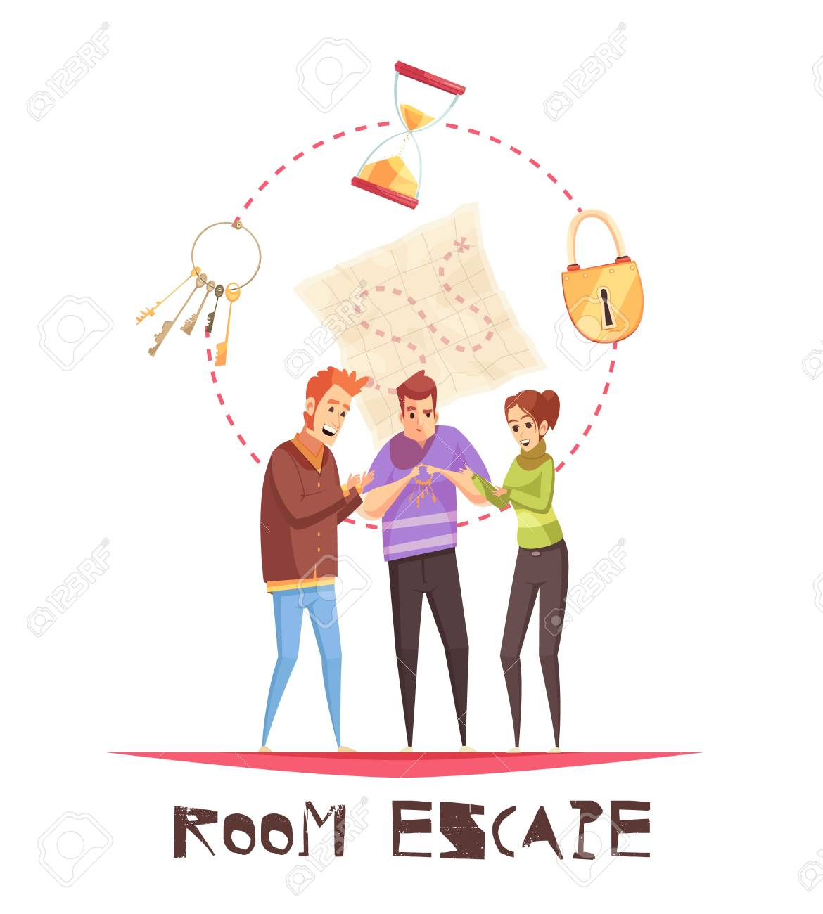 Room escape design concept with three adult gamers figurines and lock clock keys cartoon icons vector illustration - 96398762