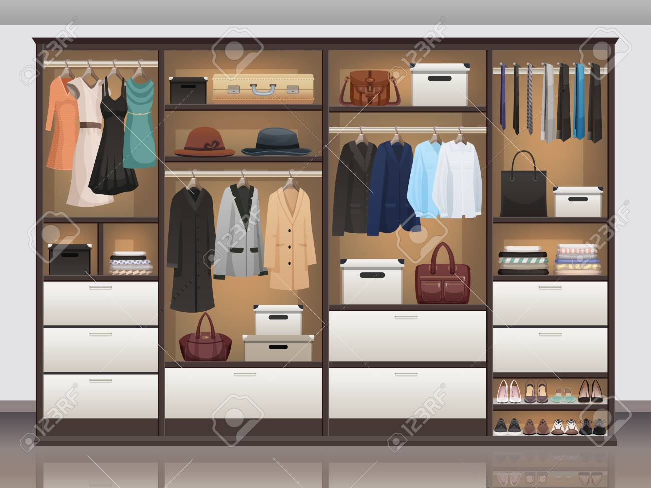 Bedroom wardrobe closet storage with interior organizers shoe..