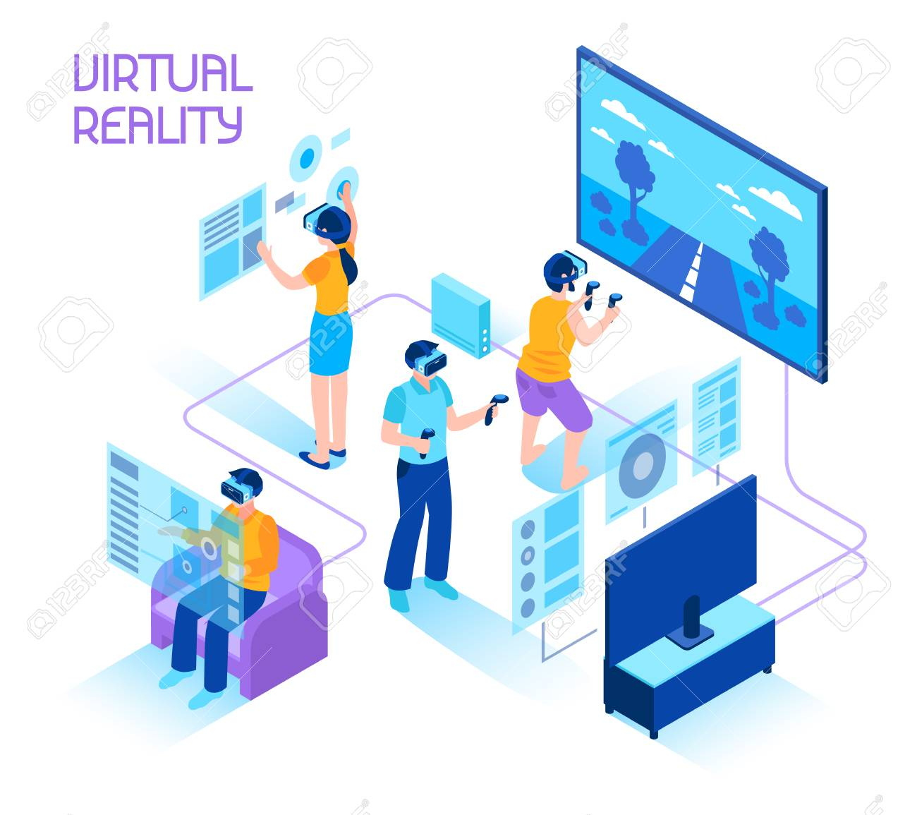Virtual reality isometric composition with people in headsets immersing in virtual reality world holding motion controllers vector illustration. - 96782093
