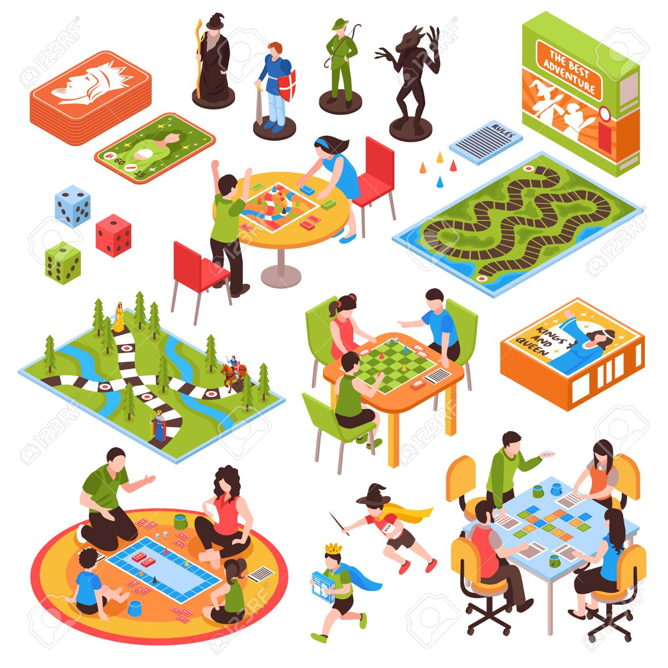 Set of isometric icons with people including adults and kids playing board games isolated vector illustration - 96609906