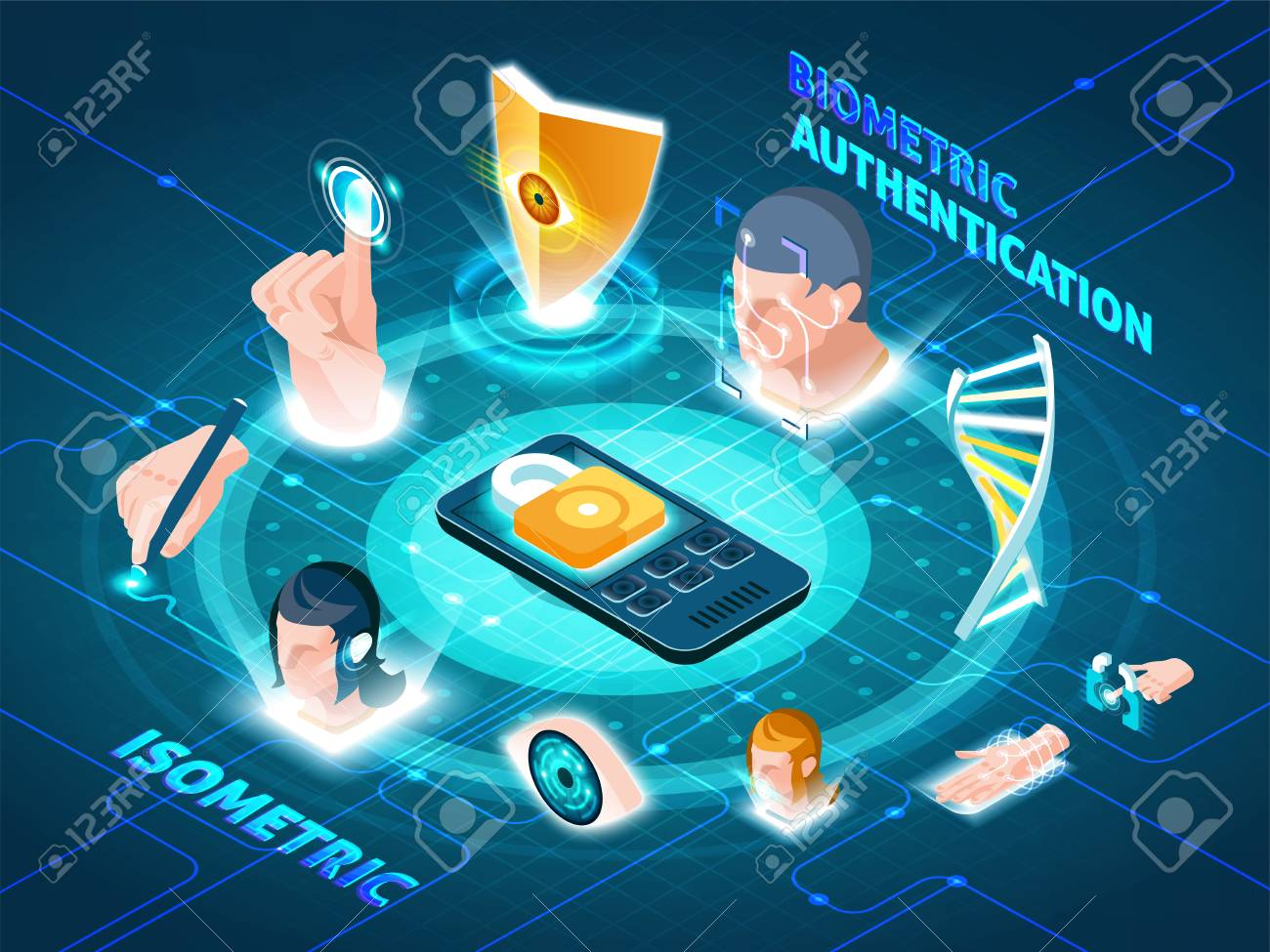 Biometric authentication users security isometric circle composition with padlock on smartphone and recognition methods symbols vector illustration - 96782112