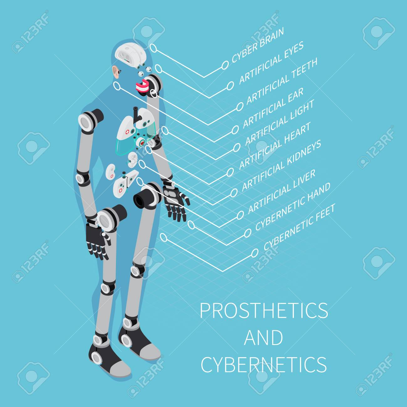 Prosthetics and cybernetics composition with healthcare symbols on blue background isometric vector illustration - 96752469
