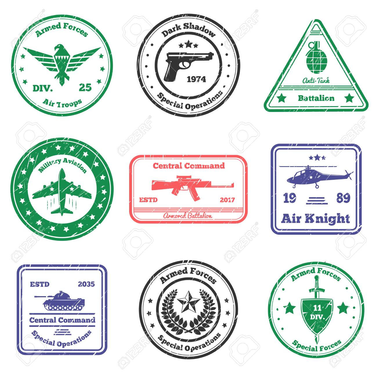 Military grunge stamps collection of nine flat postal stamps