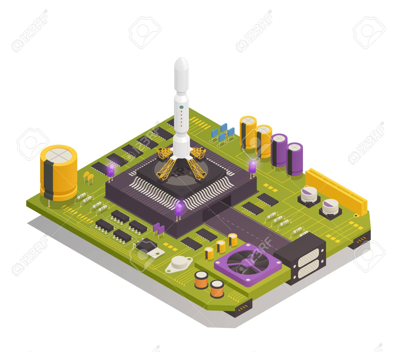Semiconductor Electronic Components Assembled On Printed Circuit Completely Board As Space Rocket Launching Complex Isometric Composition
